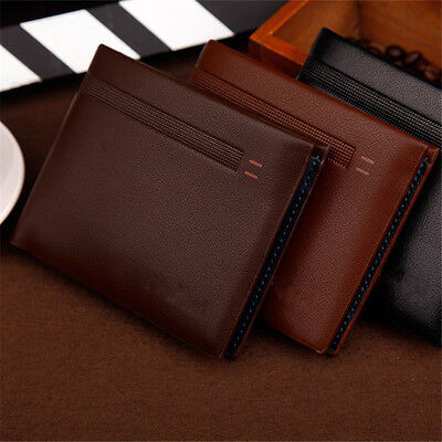 New Mens Classic Trifold credit card holder Black Grainy Leather Wallet Puse