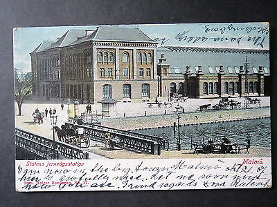 Sweden: Malmo Railway Station. Posted 1910.