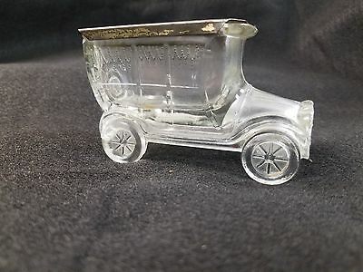 Glass Candy Container – Car – Small Flat Top Hearse 2 chips