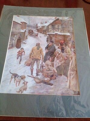 Pears Annual 1908. Print by F Dadd of a Winter Scene.
