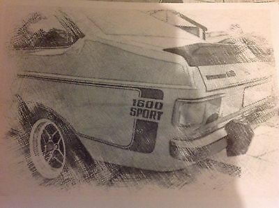Ford Escort Mk2 1600 Sport Framed Black And White A4 Printed Picture