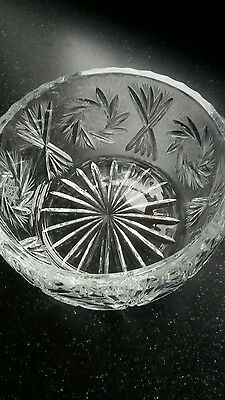 Large lazer cut crystal bowl very heavy