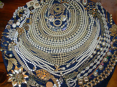 Huge lot vintage jewelry Estate Signed Star Coro Reined Trifarii Napier