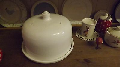 Vintage Country Style New Shabby Chic Covered Cheese Cake Dish With Domed Lid