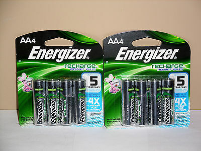 ENERGIZER RECHARGEABLE BATTERIES AA (8 Batteries - 2 Pack *NEW)