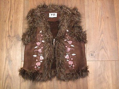 Kids age 7 - 8 years girls gilet brown floral embroidery festival Winter Jacket