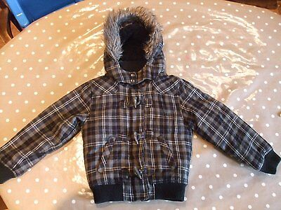 Kids aged 7 - 8 years girls hooded jacket grey purple black check Winter