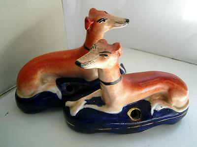 Pair Staffordshire pottery Greyhound inkwell figures  C1880