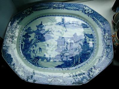 51cm Large Chinese Chienlung Blue & white Nanking export porcelain platter 18thC