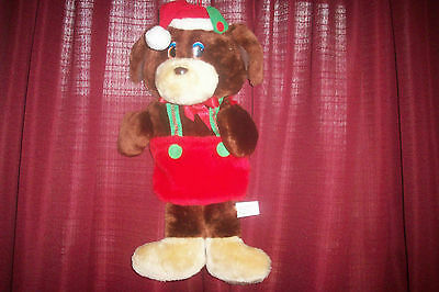 1990 Brown Dog in overalls Christmas Stocking  EUC 16""