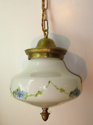 Antique Solid Brass Schoolhouse Victorian Hanging Ceiling Painted Light Lamp