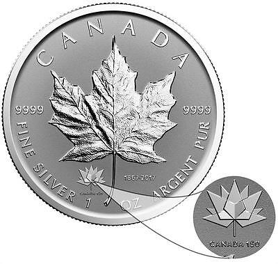 2017 Maple Leaf 150th. Anniversary PRIVY Mark $5 Silver Reverse Proof Coin