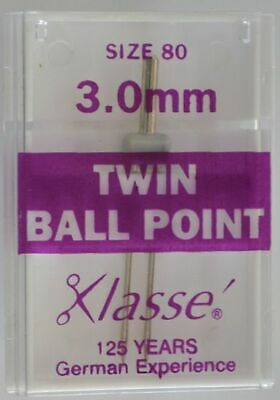 Klasse Sewing Machine Needles, TWIN BALL POINT 3.0mm 80/12, Pack of 1 Needle