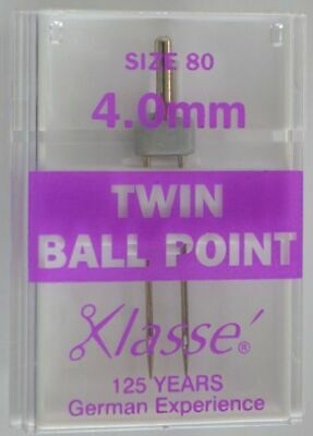 Klasse Sewing Machine Needles, TWIN BALL POINT 4.0mm 80/12, Pack of 1 Needle