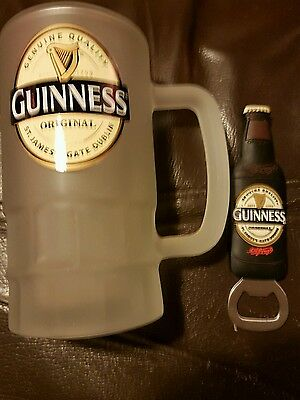 Guinness Frosted Beer Glass with Bottle Opener