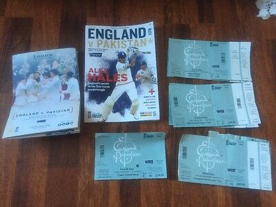 First TEST MATCH PROGRAMME ENGLAND vs PAKISTAN 14-18th July 2016 & Used Tickets