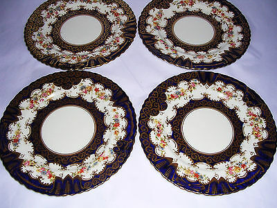 Antique CROWN STAFFORDSHIRE 4 x Plates Cobalt Blue - Floral - 7 inches - Superb