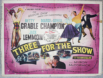 Three for the show Original British Quad poster Betty Grable Jack Lemmon 1955
