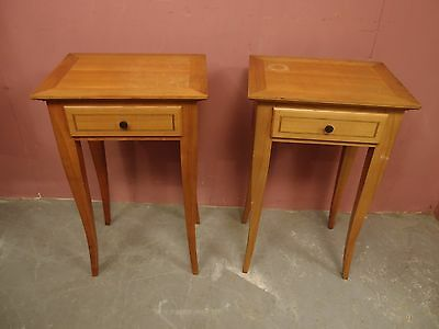 PAIR ANTIQUE PALE INLAID WALNUT PEDESTAL BEDSIDE TABLES with DRAWERS 1950s