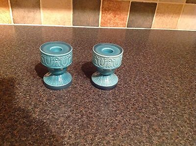 Pair Beswick Turquoise Cathay Candle Holders No2382