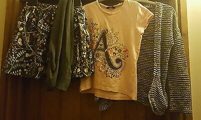 Lovely George outfit / bundle 8-9-10 skirt cardigan tshirt tights grey pink