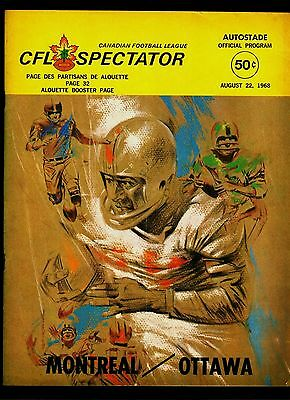 Vintage Cfl Football Program Montreal Alouettes Vs Ottawa 8/22/1968 Vg/ex