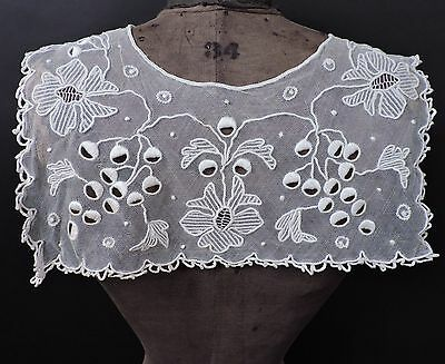Antique 19Th C Couched Hand Embroidered Lace Collar For Dress
