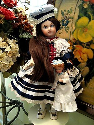 """Antique French Tete Jumeau Bebe Bisque Head Composition Body 16"""" Repro Doll"""