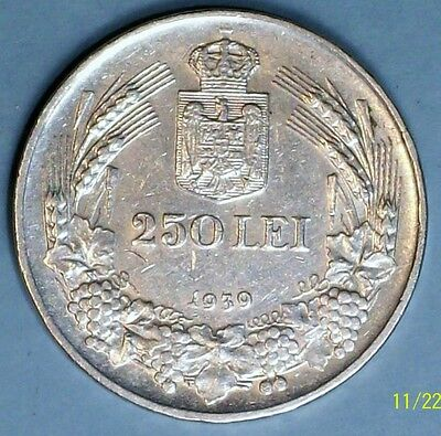 Romania 250 Lei 1939 Almost Uncirculated  0.8350 Silver Coin