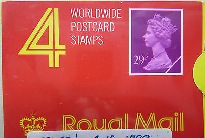 ROYAL MAIL BOOK WORLDWIDE POSTCARD stamps  29p  x 4  - 1989