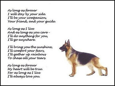 "Beautiful GERMAN SHEPHERD print ""AS LONG AS FOREVER"" art poem photo picture NEW!"