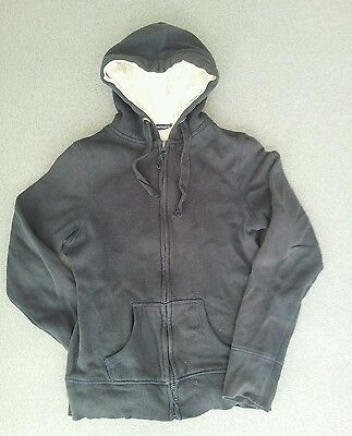 "Navy Blue Zip Front Hoodie Hoody Size Xs 34"" Chest Approx Age 11-12"
