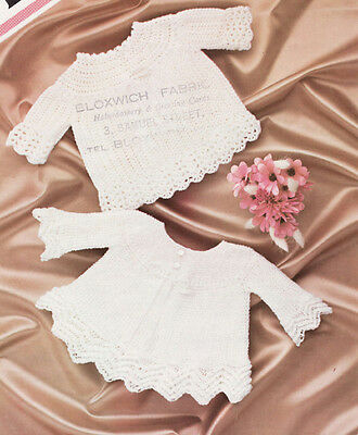Vintage  Knit & Crochet  Pattern Copy - To Make Baby Angel Tops - 4 Ply