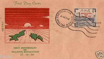 Pakistan Fdc 1959 & Stamp Revolution Day Map Of East & West Pakistan