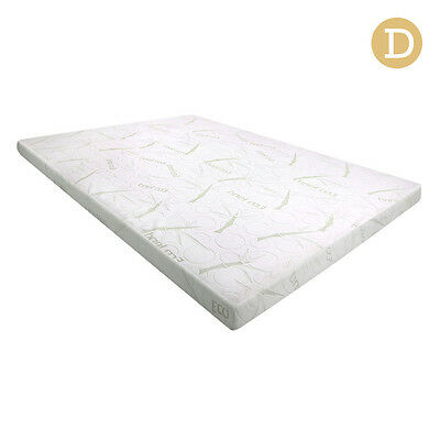 Cool Gel Memory Foam Mattress Topper with Bamboo Fabric Cover 8cm Double