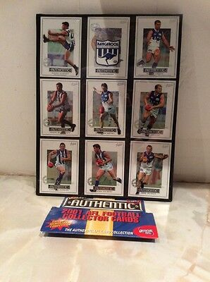 NORTH M KANGAROOS AUSTRALIAN RULES FOOTBALL OFFICIAL 2001 Framed Collector Cards