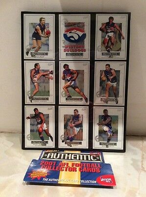 WESTERN BULLDOGS AUSTRALIA RULES FOOTBALL 2001 Collector Cards X9 In Glass Frame