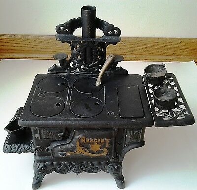 Vintage Miniature Cast Iron Wood Burning Stove by Crescent Salesman Sample
