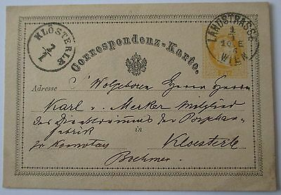 Austria. 2 kreuzer postal stationery card sent from Vienna in 1876.