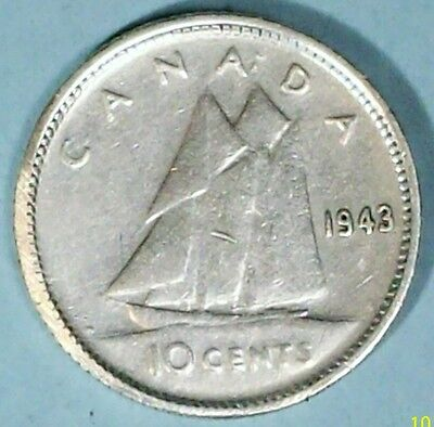Canada 10 Cents 1943 Very Fine  0.8000 Silver Coin