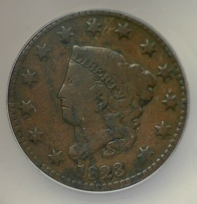 Antique 1823 Coronet Head 1c Large Cent ANACS VG-8 Corroded 17715