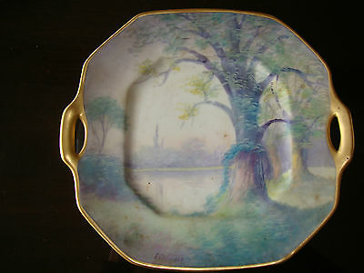 1918 Pickard Vellum Hand Painted Signed E.challinor Cake Tray, Plate