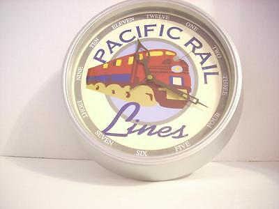 "Pacific Rail Lines Battery Powered Clock 11""  Diameter"