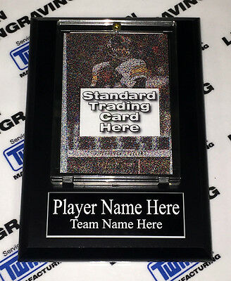 """4x6 Sports Card Display Plaque Holder 4.25"""" X 6"""" Wall Art w/ nameplate"""