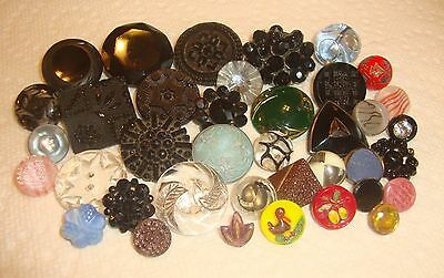 Lot of 38 Antique Vintage Glass Buttons