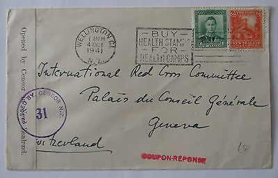 New Zealand. Censored envelope sent from Wellington to Geneva in 1941.