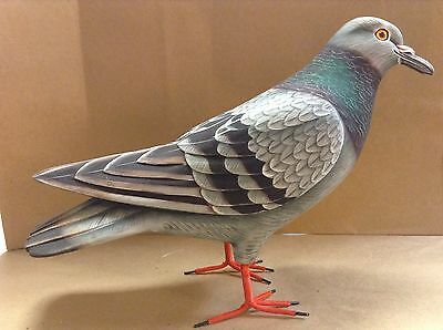 hand carved and painted Rock Dove