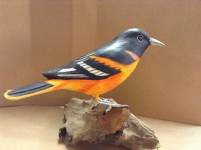 hand carved and painted Baltimore Oriole