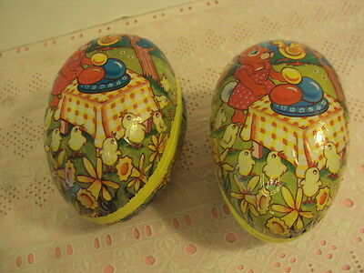 Two PAPER MACHE Easter Eggs CANDY CONTAINERS Designed by Humatt London