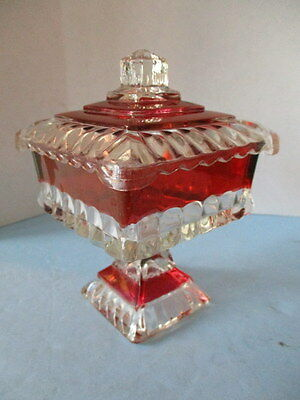 Vintage Indiana Cranberry Red Flash Glass Footed Compote, Covered Candy Dish